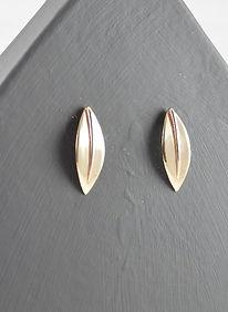 HR Jewellery Designs Olea leaf Sensation stud earrings in 9ct Gold handmade by HR Jewellery Designs