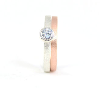 White Gold Rub Over Set Diamond Engagement Ring and Rose Gold Slim Wedding Band By HR Jewellery Designs