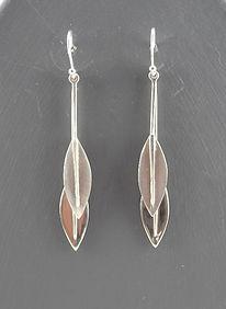 Shiny and matt double leaf earrings | HR Jewellery Designs handmade silver leaf drops