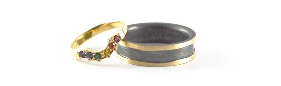 bespoke colours of the rainbow shaped wedding ring | Mens gold and oxidised silver wedding ring | HR Jewellery Designs