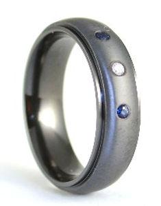 Handmade Bespoke Black Zirconium Gents Wedding Band by HR Jewellery Designs