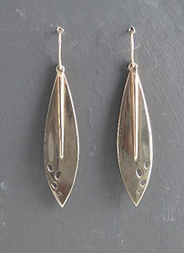 Show stopping 9ct Gold long drop leaf earrings | HR Jewellery Designs | Jewellery Designer working Hampshire