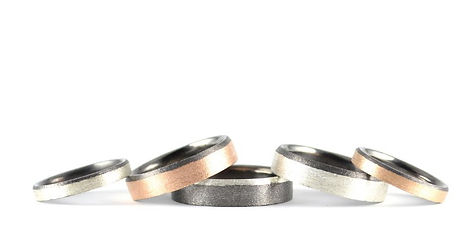 Handmade Blaze Two Colour Wedding Rings by HR Jewellery Designs West Sussex, Hampshire