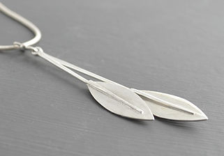 Solid Silver Double olive leaf Long Drop Pendant Designed by HR Jewellery Designs UK Jewellery Designer