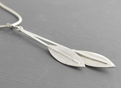 Olea leaf long double silver pendant | Handmade pendant by HR Jewellery Designs