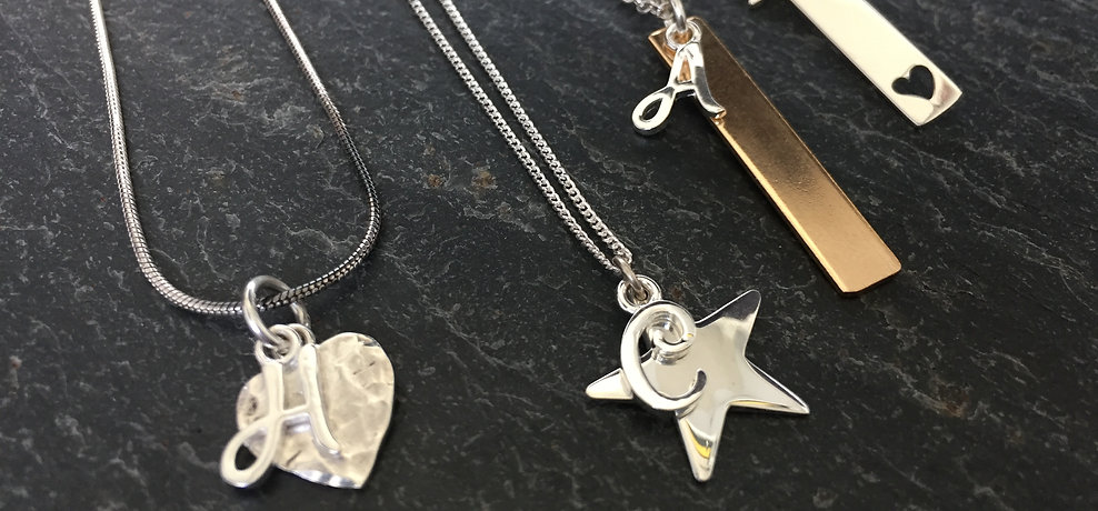 Custom made initial necklaces and charms by HR Jewellery Designs West Sussex / Hampshire