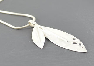 Solid Silver Double Leaf Passion Drop Pendant Designed by HR Jewellery Designs UK Jewellery Designer Collection