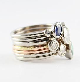 unworn jewellery remade into multi stacking ring set. HR Jewellery Designs Hampshire