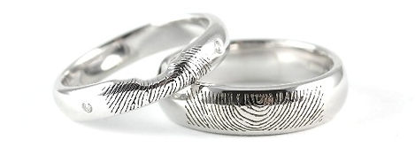 His and Hers Engraved Fingerprint Shaped Wedding Rings made by HR Jewellery Designs West Sussex / Hampshire