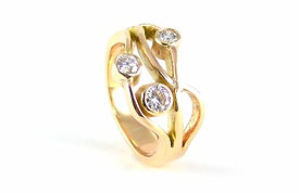 Redesigned diamond and gold ring from melting down inherited and sentimental jewellery by HR Jewellery Designs in Hampshire / West Sussex