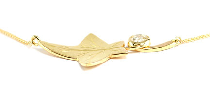 Remodelled jewellery into an ivy leaf necklace with diamond | Hampshire jeweller
