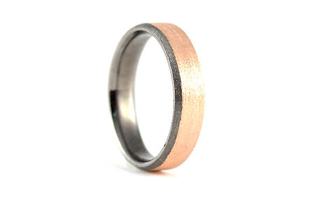 HR Jewellery Designs Gents Bevelled Edge 9ct Yellow Gold 5mm two colour Blaze Wedding Ring | West Sussex / Hampshire