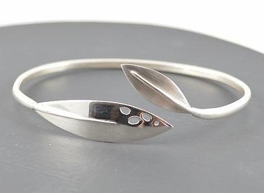 Olea Leaf Passion silver torque bangle | HR Jewellery Designs handmade jewellery