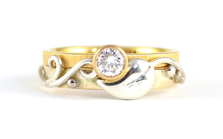 Silver and 9ct Yellow Gold Leaf and Vine engagement ring | bespoke jeweller Chichester West Sussex / Hampshire