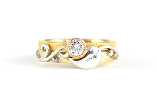 Leaf and Vine Diamond Engagement Ring and Wedding Band in yellow gold and silver. Handmade by HR Jewellery Designs in West Sussex / Hampshire
