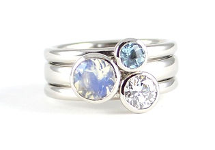 Handmade three stone stacking ring by HR Jewellery Designs West Sussex / Hampshire