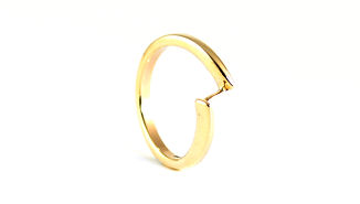 Handmade Shaped Crossover Wedding Ring in Yellow Gold. Handmade by HR Jewellery Designs West Sussex / Hampshire Jeweller
