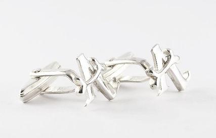 Wedding present inital cufflinks bespoke designed by HR Jewellery Designs West sussex