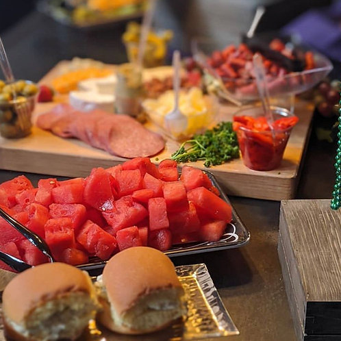 Assorted Fresh Fruits, Charioteer board, assorted Quiches Chicken Salad Sliders