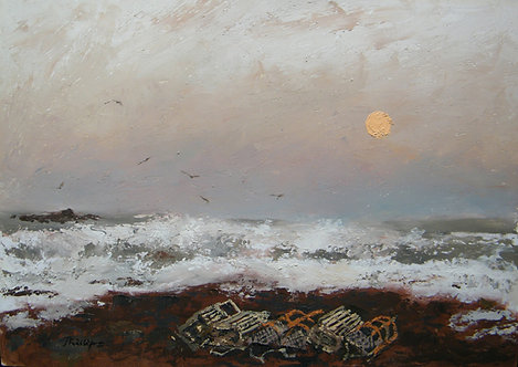 Evening Creels and Rough Sea