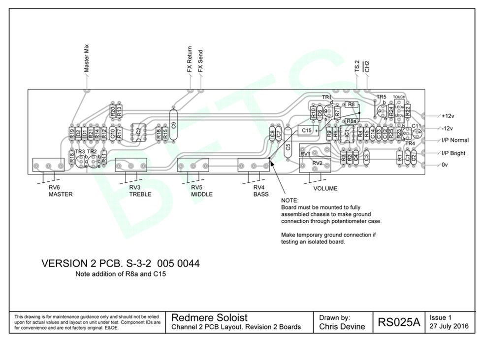 Redmere Soloist Channel 2 PCB Layout. S-3-2 Boards
