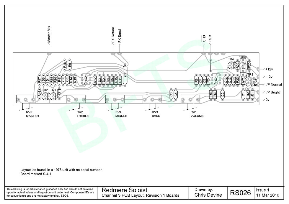 Redmere Soloist Channel 3 PCB Layout. S-4-1 Boards