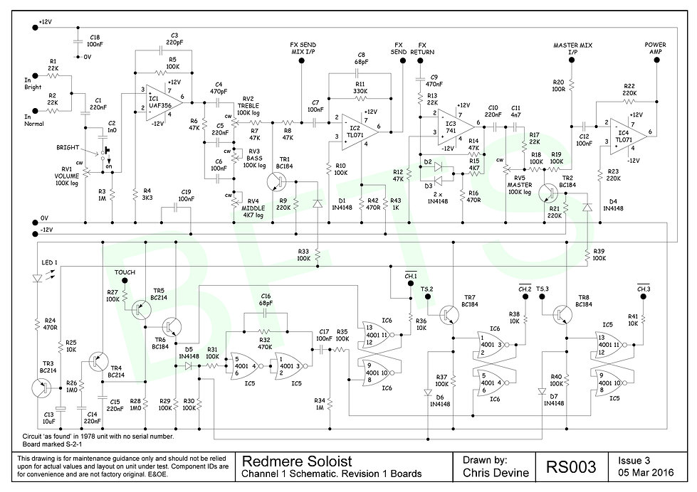 Channel 1 Schematic. S-2-1 Boards