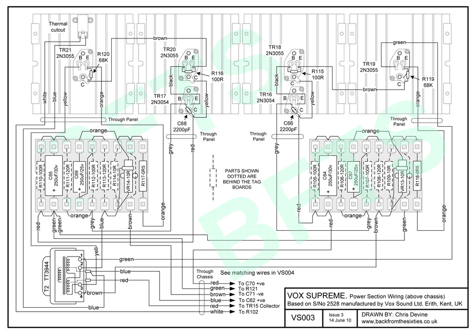 Vox Supreme MkI power section wiring layout above chassis