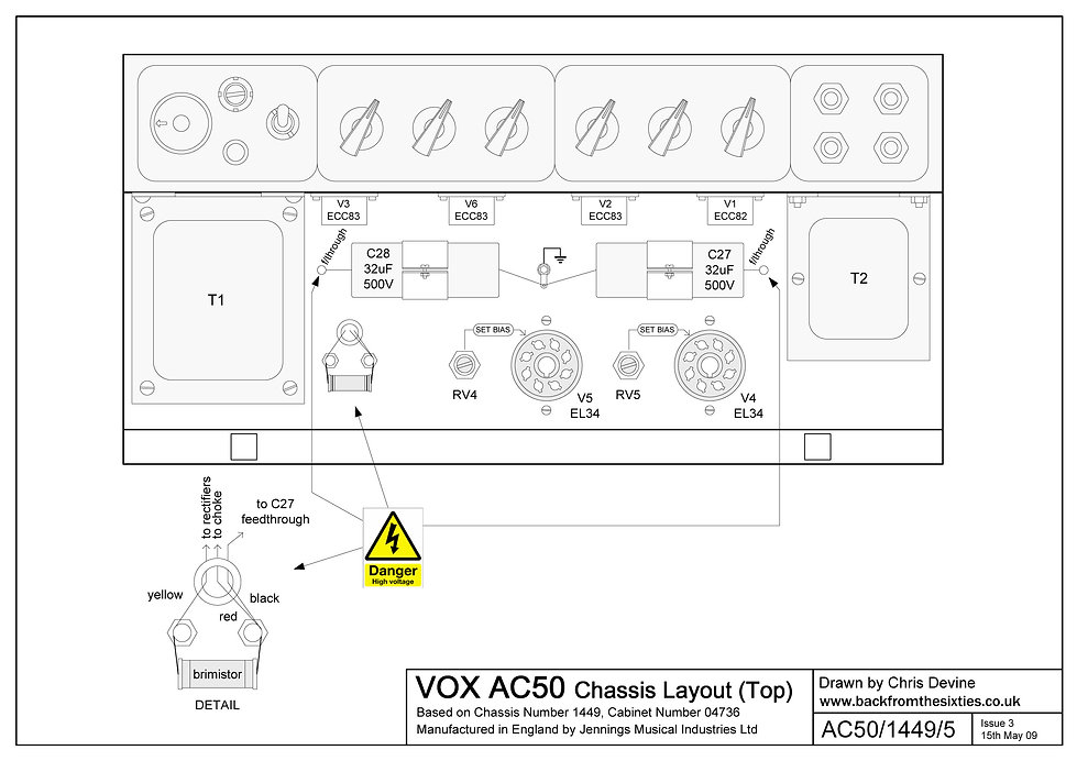 Vox AC50 Chassis Layout Top View