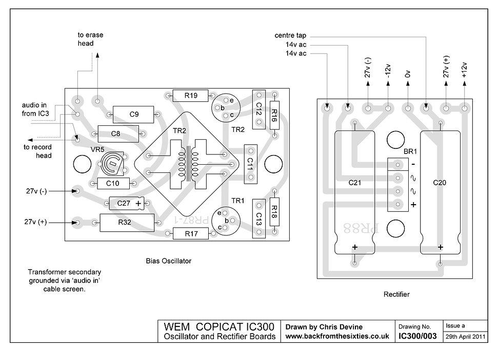 Watkins WEM IC300 Oscillator And Rectifier Board Layout