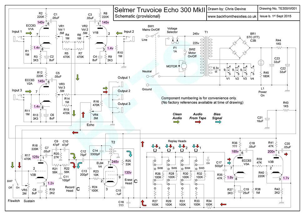 Selmer Truvoice Echo 300 MkII Schematic
