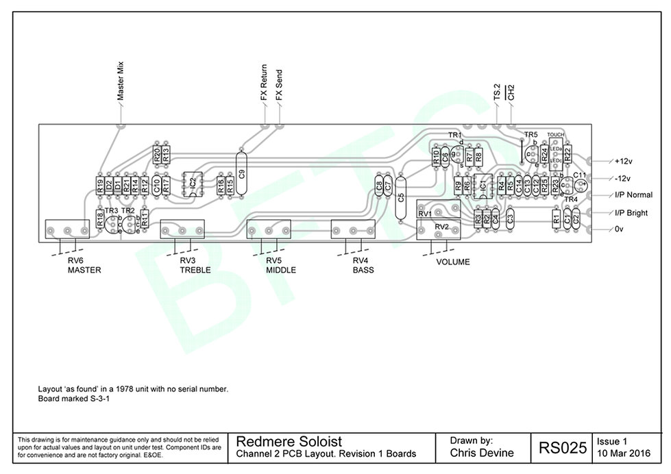 Redmere Soloist Channel 2 PCB Layout. S-3-1 Boards