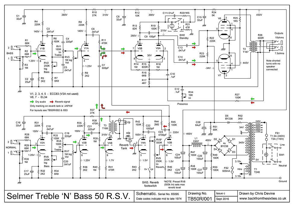 Selmer Treble 'N' Bass 50 R.S.V. schematic
