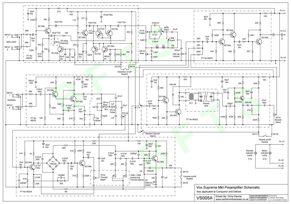 Vox Supreme MkI Preamp Schematic