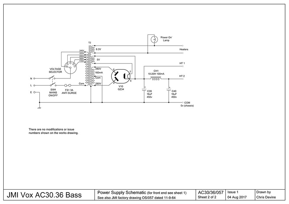 Vox AC30.6 Bass Schematic Sheet 2