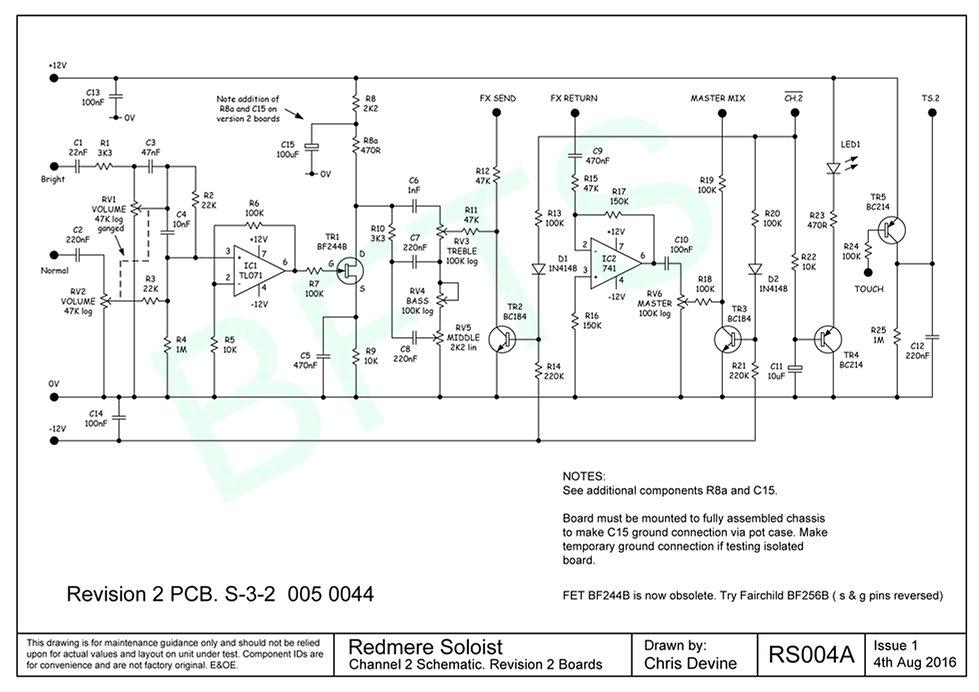 Redmere Soloist Channel 2 Schematic. S-3-2 Boards