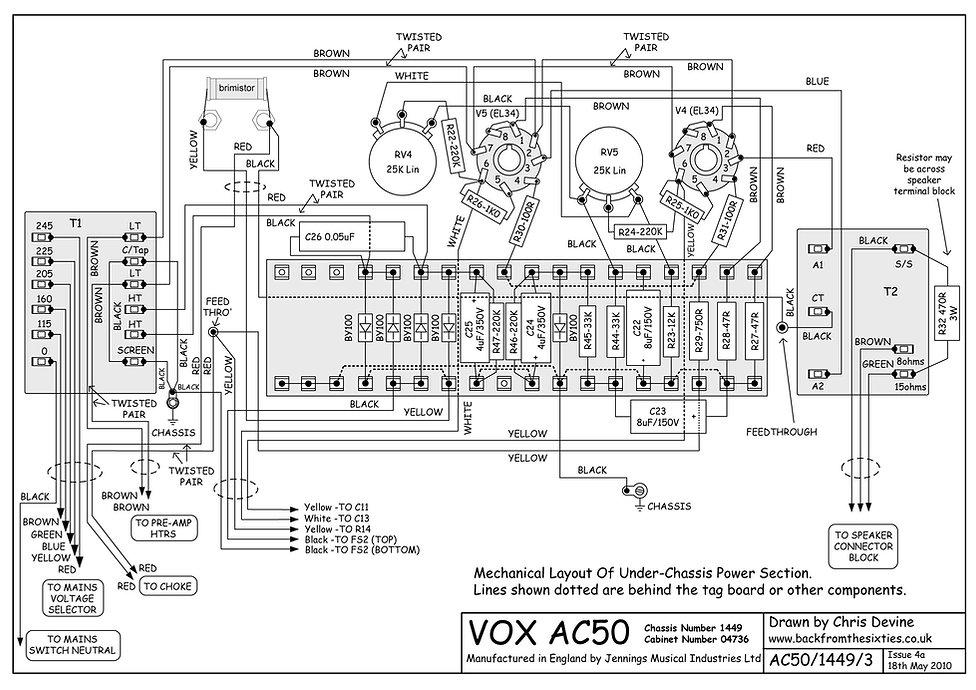 Vox AC50 Power Amp Layout
