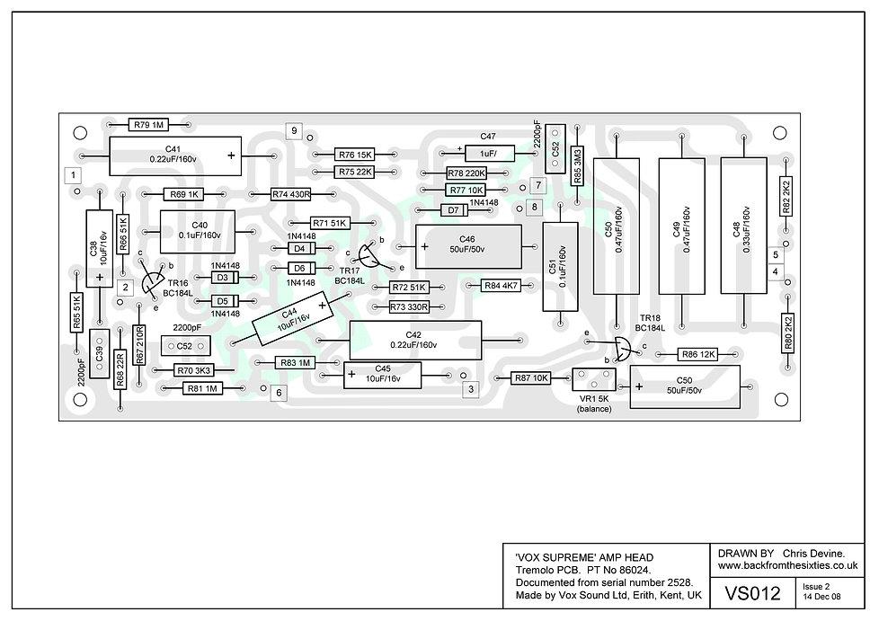 Vox Supreme, Conqueror and Defiant tremolo pcb layout.