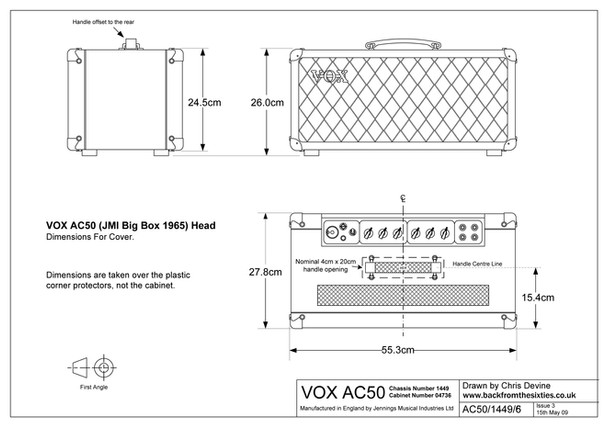Vox AC50 Cabinet Dimensions