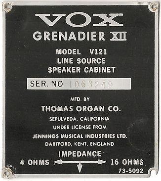 Vox Grenadier XII Serial Plate