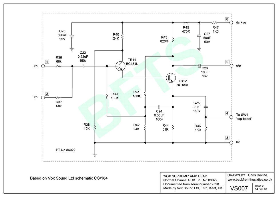 Vox Supreme, Conqueror and Defiant normal channel pcb schematic