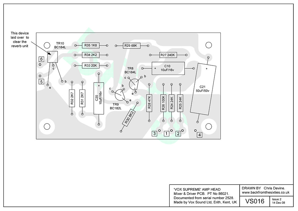 Vox Supreme, Conqueror and Defiant mixer/driver pcb layout