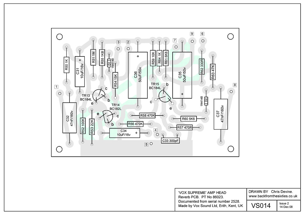 Vox Supreme, Conqueror and Defiant reverb pcb layout.