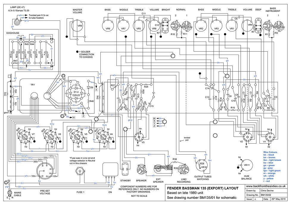 Fender Bassman 135 Layout ¦ Backfromthesixties.co.uk