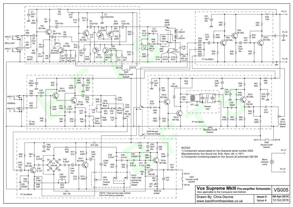 Vox Supreme MkIII Preamp Schematic