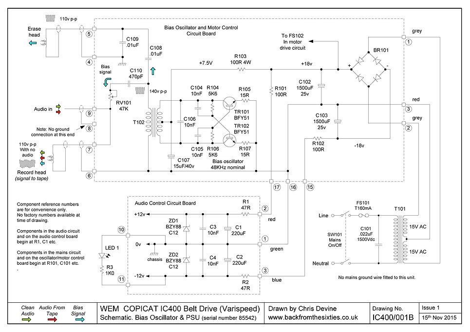 Copicat IC400 Varispeed Bias Oscillator and PSU Schematic