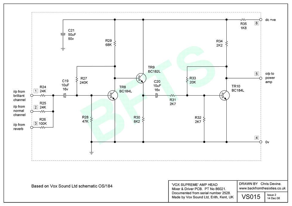 Vox Supreme, Conqueror and Defiant mixer/driver pcb schematic