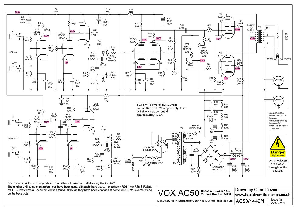 Vox AC50/4 Schematic OS/072