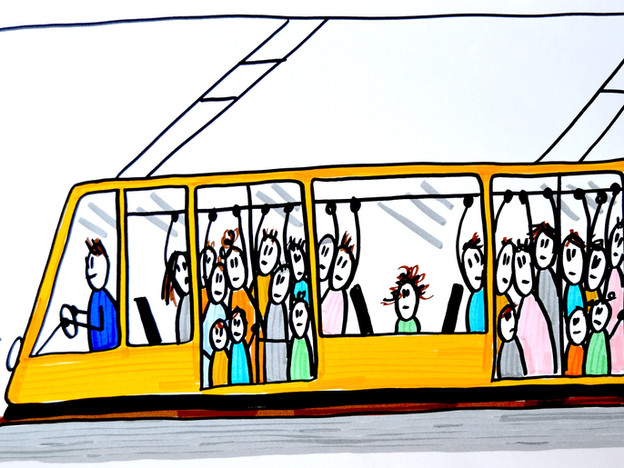 Humans on the tram