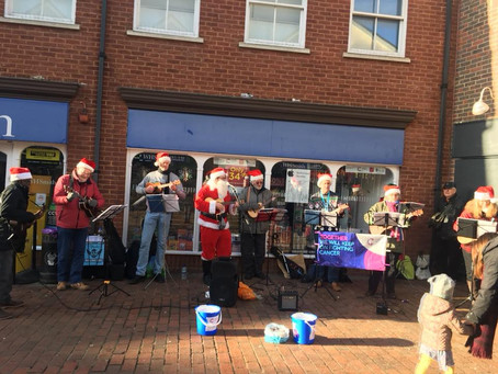 Busking for Cancer Research UK